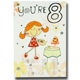 19cm - You're 8 - Girl Teapot Teacup Cakes - E