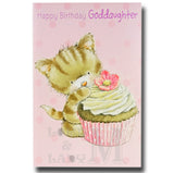 23cm - Happy Birthday Goddaughter - Cat Cake - E