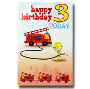 19cm - Happy Birthday 3 Today - Fire Engine - E