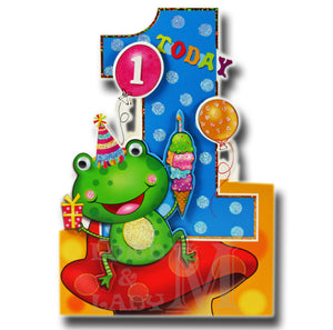 19cm - 1 Today - Frog With Blue Number 1 - E