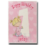 24cm - Happy Birthday 1 Today - Pink - Lge Let - E