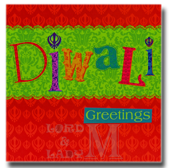 15cm - Diwali Greetings - Red Square Sikh - DV