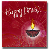 15cm - Happy Diwali - Red Square SIngle Lamp - DV