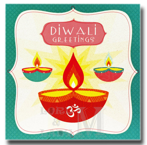15cm - Diwali Greetings - Blue Border 3 Lamps - DV