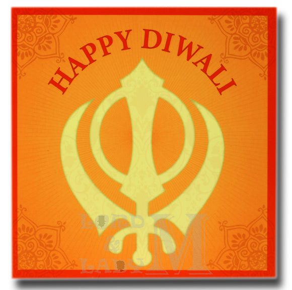 15cm - Happy Diwali - Orange Sikh - DV