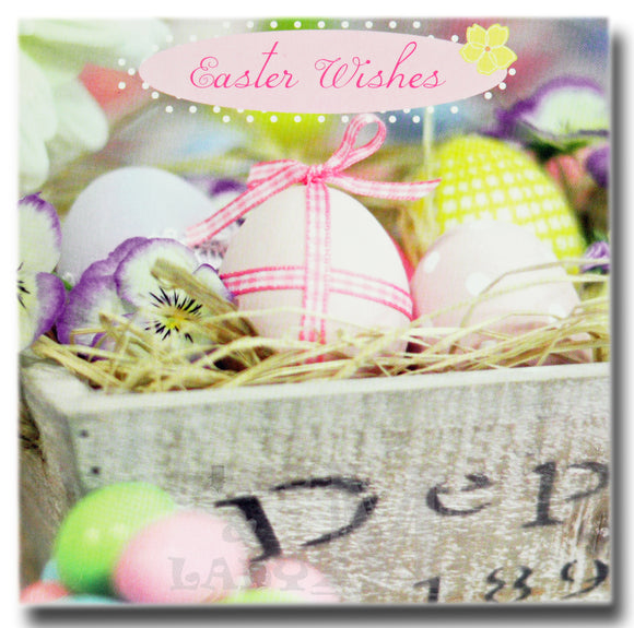 13cm - Easter Wishes - Eggs In Wooden Box