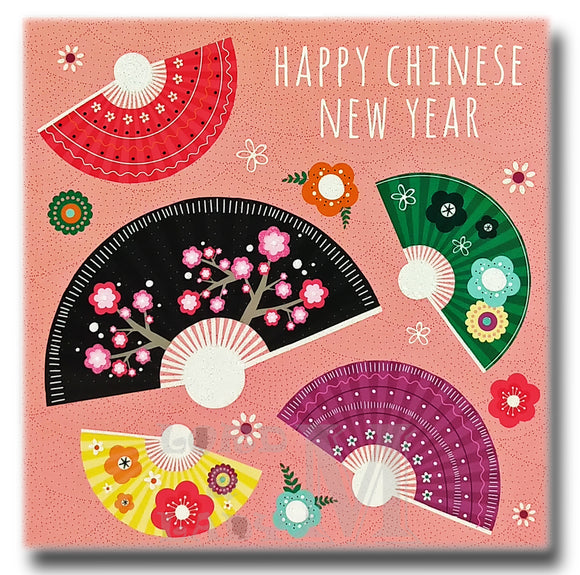 15cm - Happy Chinese New Year - Folding Fans - DV