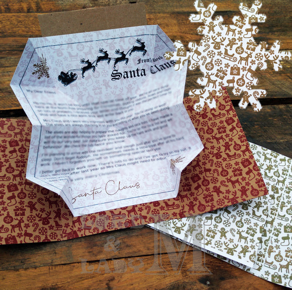 13cm - Personalised Letter From Santa - White Gold Gingerbread
