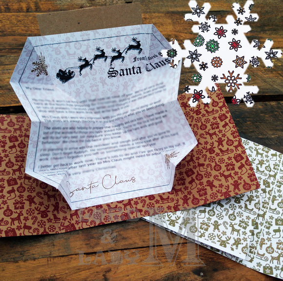 13cm - Personalised Letter From Santa - White Snowflakes