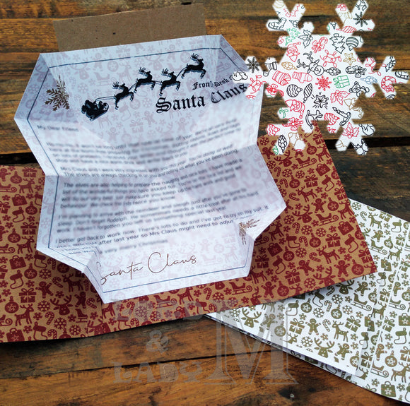 13cm - Personalised Letter From Santa - White Xmas Lines