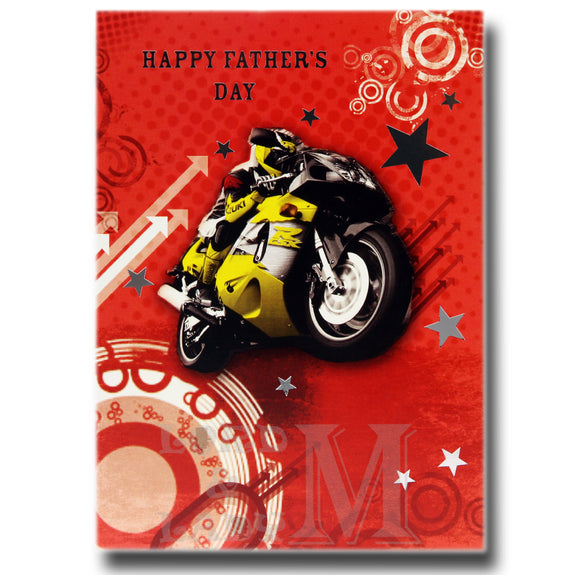 17cm - Happy Father's Day - Yellow Motorbike - OH