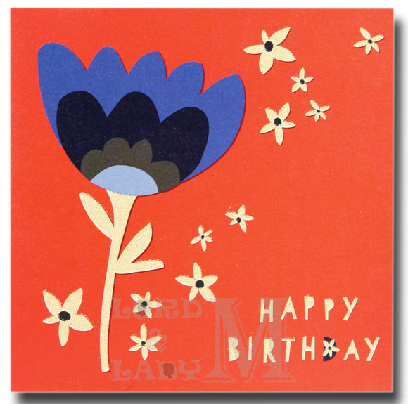 15cm - Birthday Wishes - Flowers On White Spotty Card - E