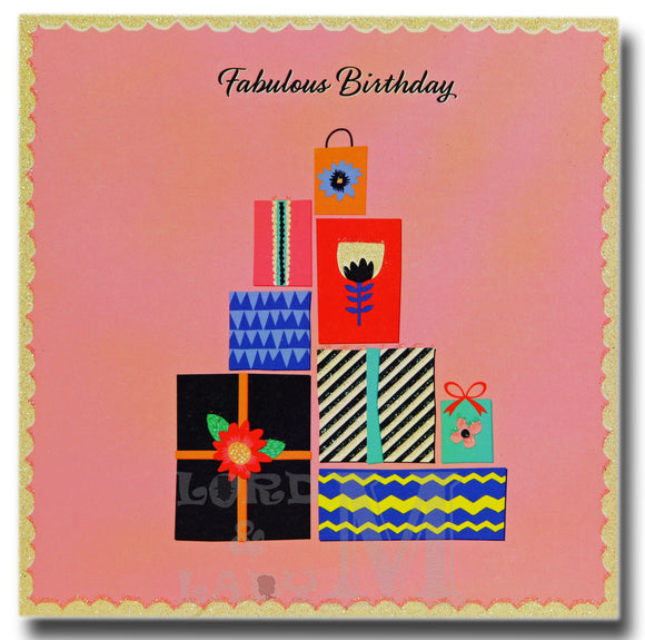 15cm - Fabulous Birthday - Gifts On Pink Card - E