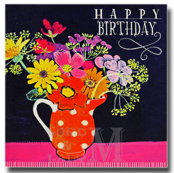 15cm - Happy Birthday - Flowers In Spotty Vase - E