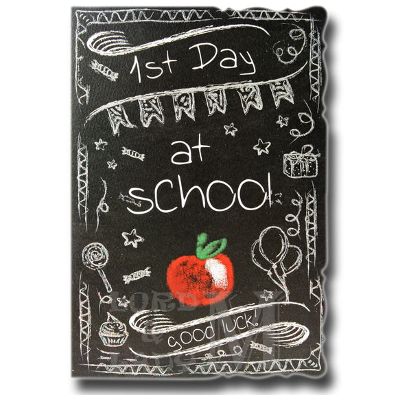 19cm - 1st Day At School Good Luck! - Black - DGC