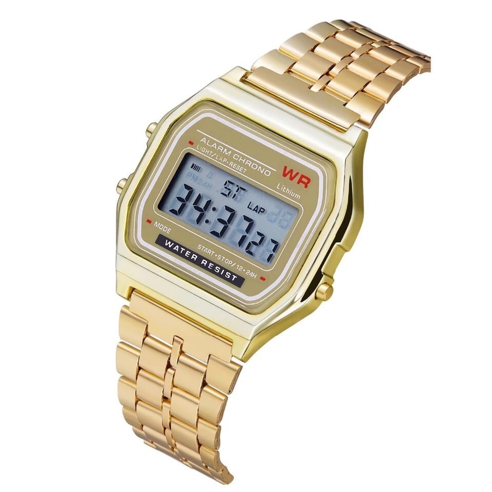 Reloj digital tipo vintage extensible metal oro