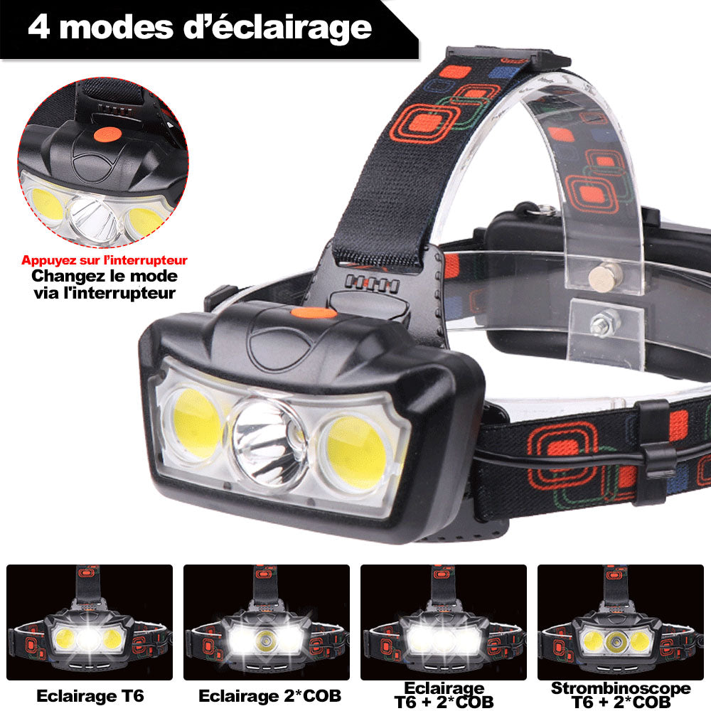 lampe frontale LED 4 modes