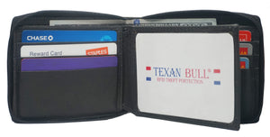 Texan Bull® RFID Signal Blocking Zipper Mens Wallet TXB-RF5101