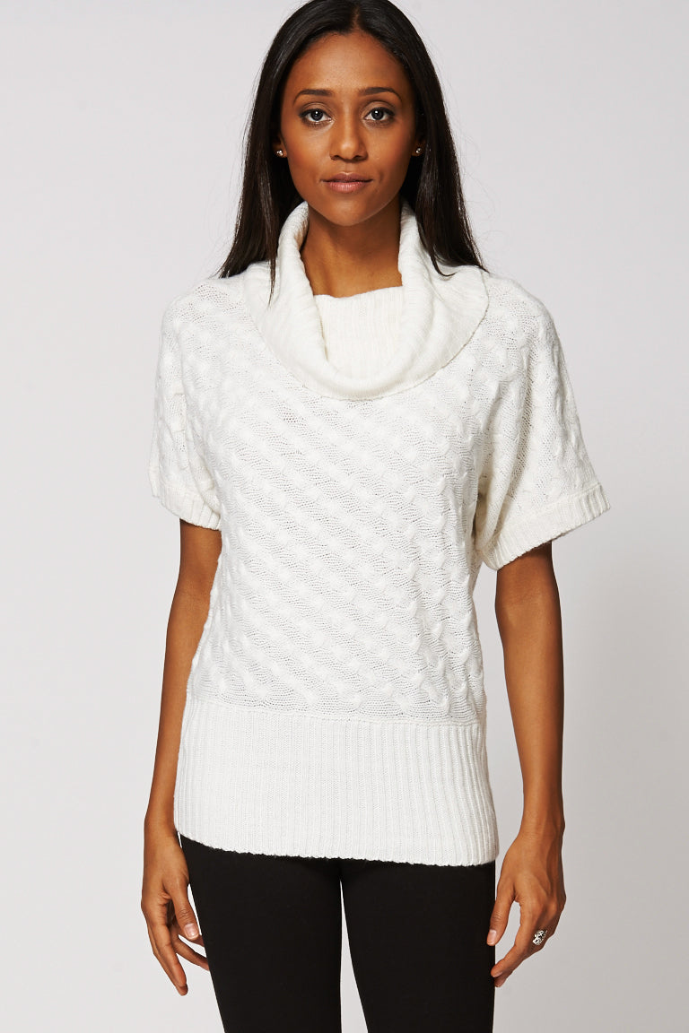 Cowl Neck Pattern Knitted Batwing Top – Fashion Democrat