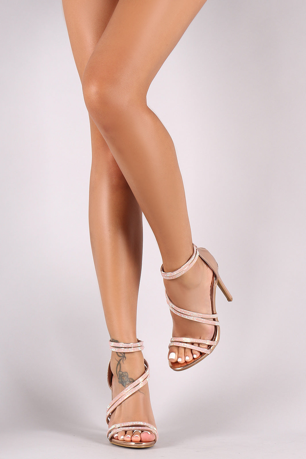 e3090183a45 Anne Michelle Asymmetrical Strappy Rhinestone Open Toe Stiletto Heel ...