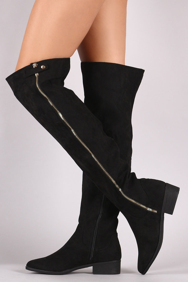 Bamboo Suede Zipper Trim Over-The-Knee Riding Boots