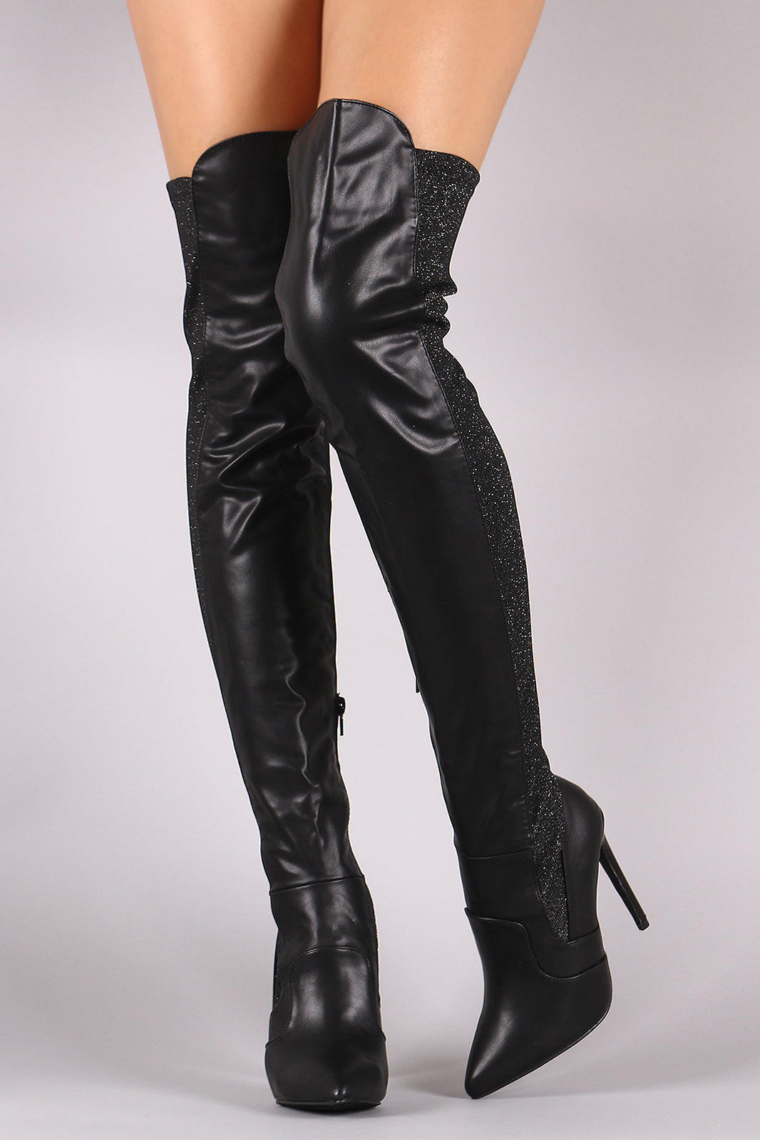08dc73f43cd1 Liliana Back Glitter Knit Pointy Toe Stiletto Over-The-Knee Boots ...