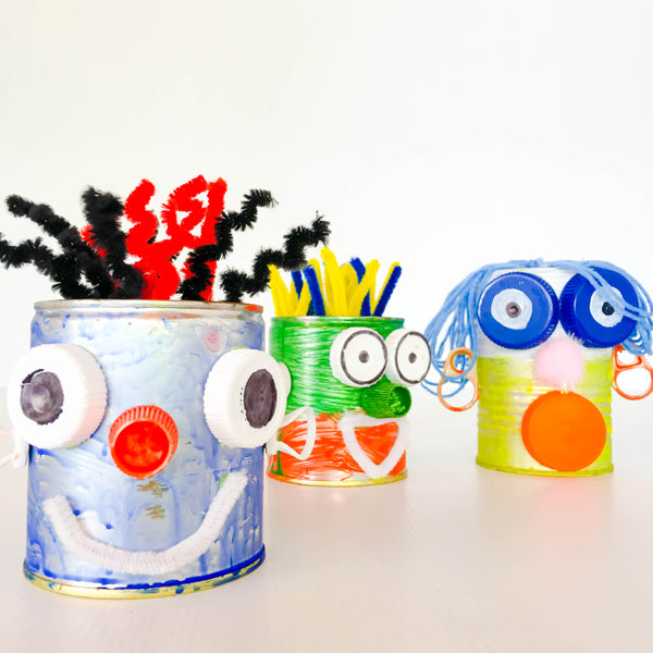 DIY tin can robot faces - Happy Active Kids Australia