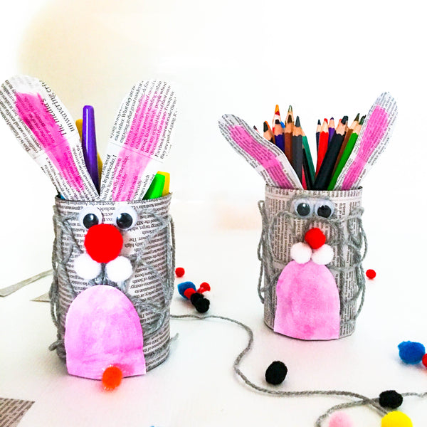DIY Easter Bunny Pencil Holders - Happy Active Kids