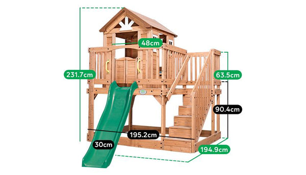 BYD Scenic Heights Wooden Cubby House with 1.8m slide - Lifespan Kids - Happy Active Kids Australia