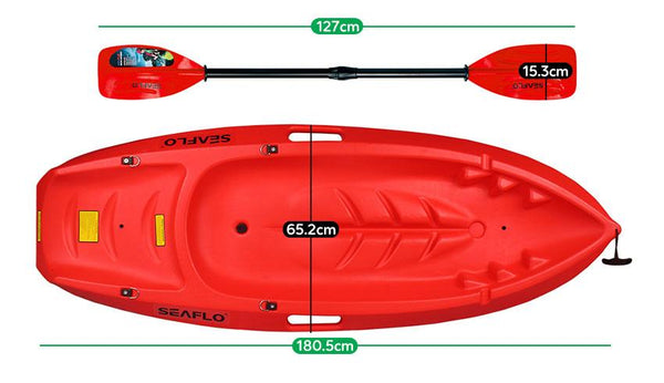 Buy online: SEAFLO Kids Kayak in Red with Paddle - Lifespan Kids - Happy Active Kids Australia