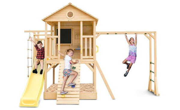 Kingston Cubby House with Monkey Bars and Yellow Slide - Lifespan Kids - Buy online Happy Active Kids Australia - Youngsters will have endless adventures with the Kingston Play Centre and Yellow 2.2m Slide. This beautiful timber play centre & cubby house combo will have your little ones entertained for hours, with sandpit, monkey bars, climbing wall, climbing rope, and slide. Watch their creativity grow with a fun chalkboard and kids play kitchen sink included.