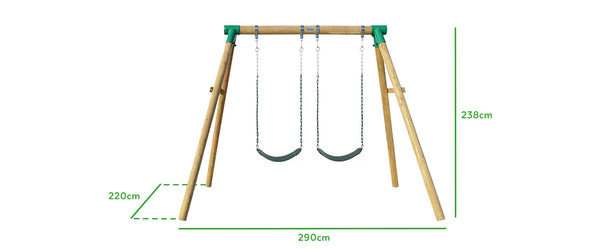 Amber 3 Double Belt Wooden Swing Set - Lifespan Kids - buy online Happy Active Kids