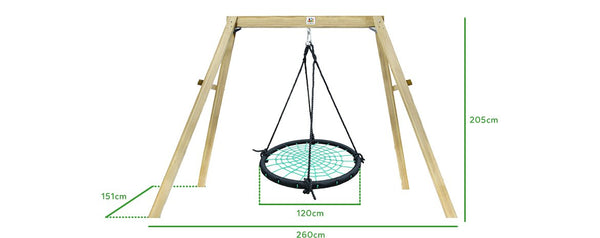 Oakley Wooden Swing Set with 1.2m Spidey Web Nest Swing - Lifespan Kids - buy online Happy Active Kids