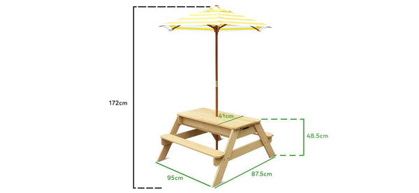 Sunrise Sand & Water Picnic Table with Umbrella - Lifespan Kids - buy online Happy Active Kids