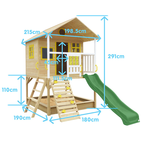 Warrigal Cubby House with Green Slide - Lifespan Kids- Happy Active Kids