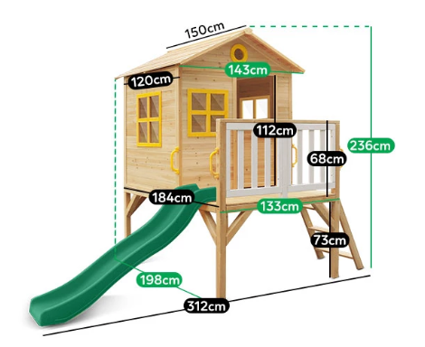 Buy online: Archie Cubby Playhouse with Green Slide - Lifespan Kids - Happy Active Kids Australia