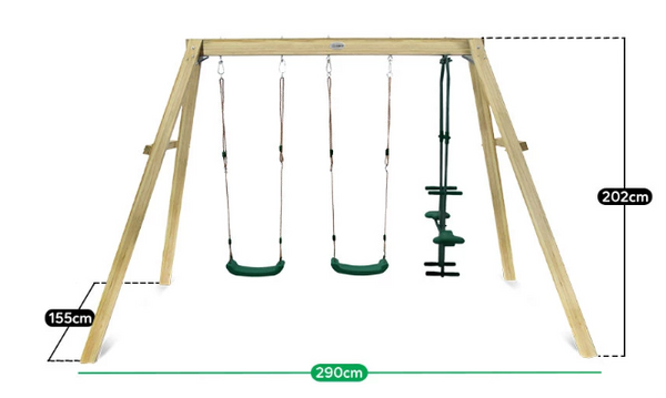 Forde 3 Station Wooden Timber Double Swing Set - Lifespan Kids - Happy Active Kids Australia