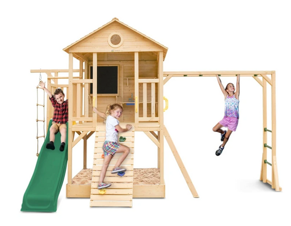 Buy online : Kingston Cubby House with Green Slide and monkey bars - Lifespan Kids - Happy Active Kids Australia - Youngsters will have endless adventures with the Kingston Play Centre and 2.2m Green Slide. This beautiful timber play centre & cubby house combo will have your little ones entertained for hours, with sandpit, monkey bars, climbing wall, climbing rope, and slide. Watch their creativity grow with a fun chalkboard and sink included.