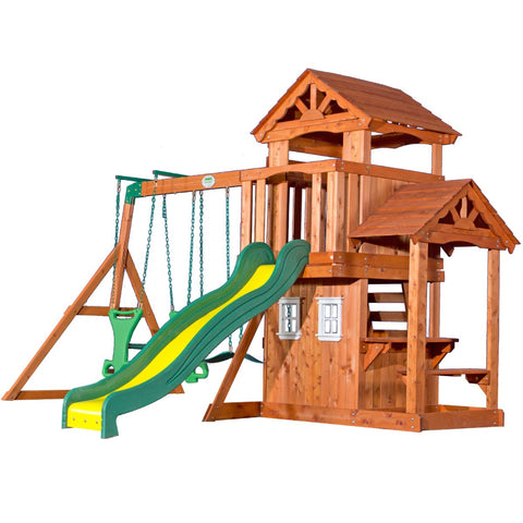 Lifespan Kids Play Centres Backyard Discovery Tanglewood Play Centre - Lifespan Kids 09347166044266 BYDTANGLEWOOD-SET Buy online: Backyard Discovery Tanglewood Wooden Cedar Play Centre  Happy Active Kids Australia