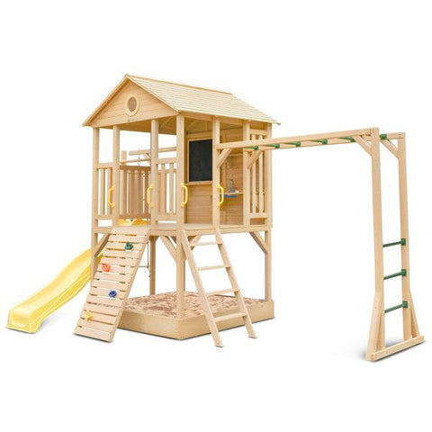 Lifespan Kids Play Houses Kingston Cubby House with Monkey Bars and Yellow Slide - Lifespan Kids (contact us for shipping quote) LKCH-KINGS-YEL Happy Active Kids Australia