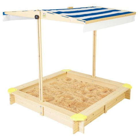 Lifespan Kids Sandpits Joey Wooden Sandpit with Blue Shade Canopy - Lifespan Kids SANDPITJOEY2 Buy online: Joey Wooden Sandpit with Blue Sun Shade Canopy  Happy Active Kids Australia