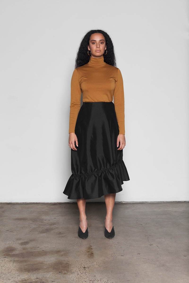 Olearia gathered silk cotton midi skirt