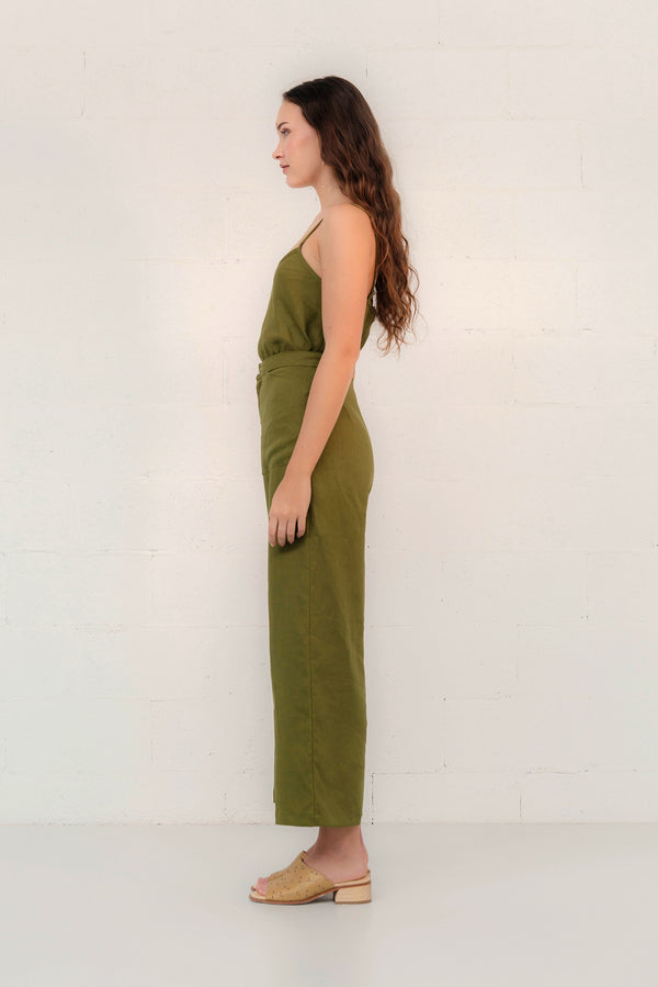 LINEN WIDE LEG PANT - SAMPLE
