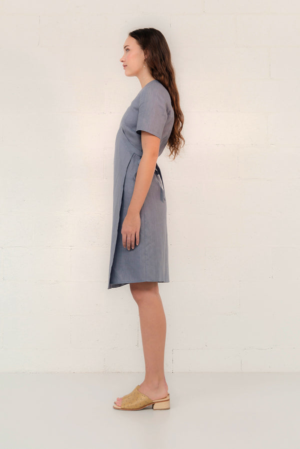 LINEN WRAP DRESS - SAMPLE