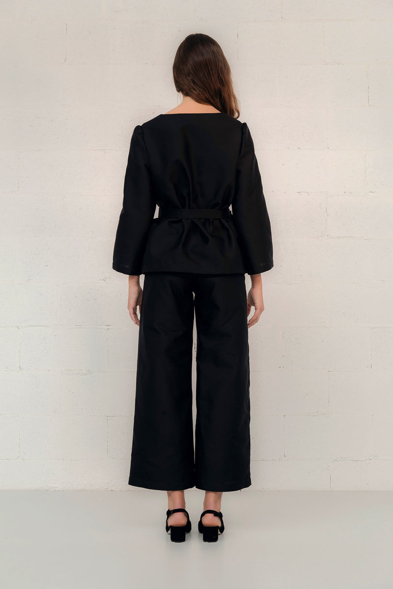 SILK/COTTON WIDE LEG PANT