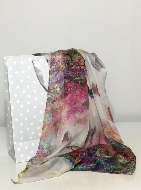 Silk Scarves in Varieties of Silk Fabrics. Chiffon, Georgette, Satin...etc