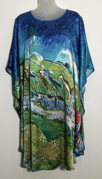 Silk Kaftan With World Famous Artworks Prints
