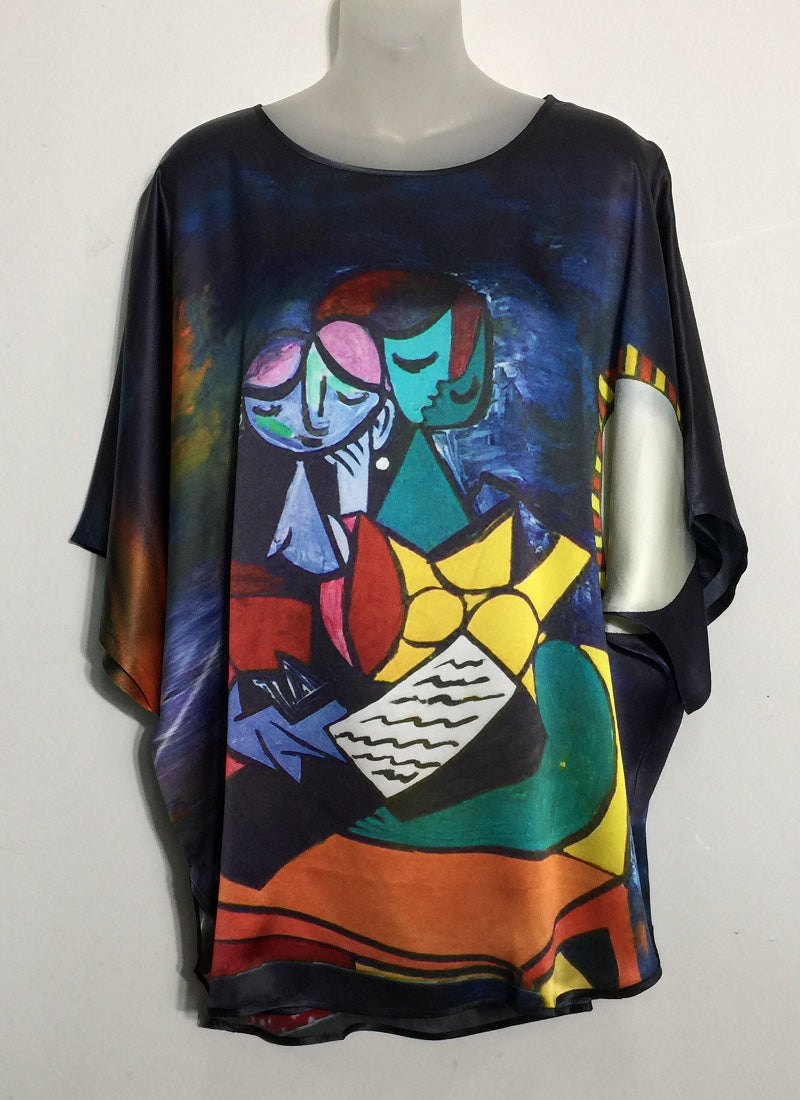 Silk Satin Blouse With World's Famous Artworks Prints
