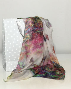Pure Silk Scarves. Chiffon long colourful Silk Scarves.
