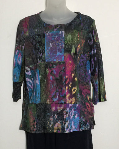 Pure Silk Jersey Knit Three Quarter Sleeve Length Top